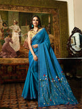 Blue Fancy Thread and Embroidery Saree - Daleyza Collections