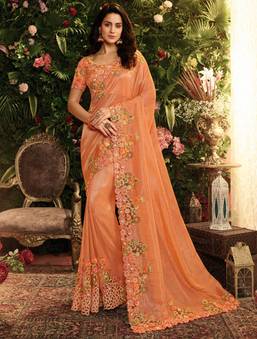 Orange Fancy Fabric Embroidery Designer Saree - Daleyza Collections