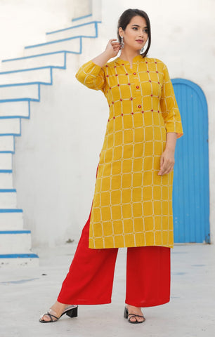 Orange Rayon Straight Kurti with Handwork and Red Palazzo - Daleyza Collections