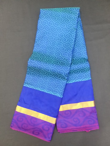 Blue Violet Purple Pure Kanchipuram Traditional Handloom Silk Saree - Daleyza Collections