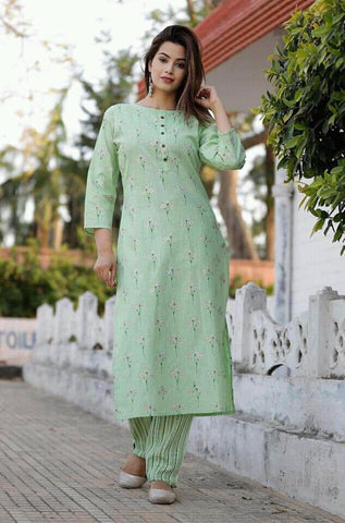 Pastel Green Cotton Flex Kurti with Pant Set - Daleyza Collections