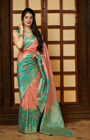 Peach Jacquard Woven Banarasi Silk Saree - Daleyza Collections