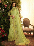 Pista Green Fancy Fabric Embroidery Designer Saree - Daleyza Collections