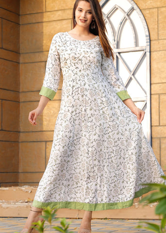 White Printed Long Kurti with Foil Mirror and Beads Work - Daleyza Collections