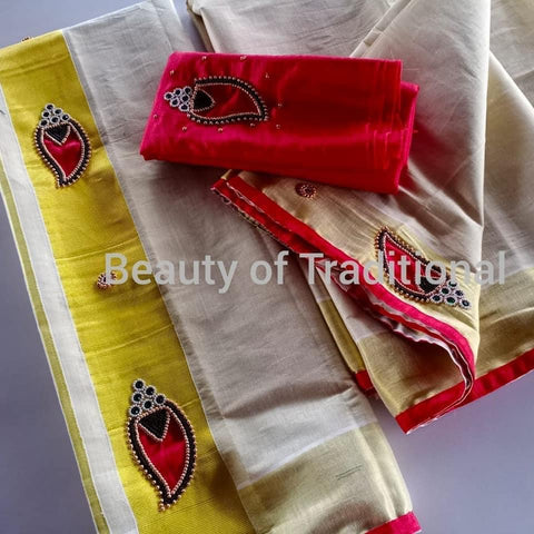 Red Gold Tissue Set Mundu with Aari Work - Daleyza Collections