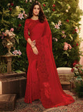 Red Fancy Fabric Embroidery Designer Saree - Daleyza Collections