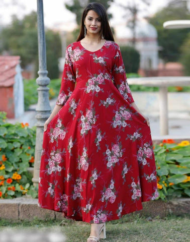 Red Crepe Floral Printed Long Kurti - Daleyza Collections