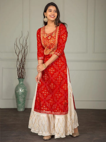 Red Rayon Printed Embroidered Kurti with Off White Skirt - Daleyza Collections
