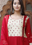 Red Crape Embroidered Long Kurti with Chiffon Dupatta - Daleyza Collections