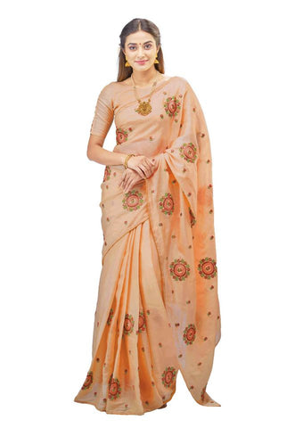 Sandy Brown Tussar Silk Saree - Daleyza Collections