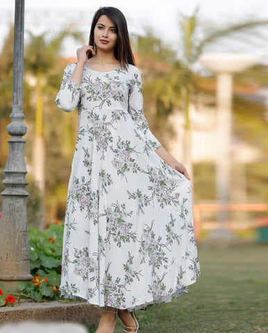White Crepe Floral Printed Long Kurti - Daleyza Collections