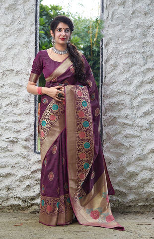 Wine Jacquard Woven Banarasi Silk Saree - Daleyza Collections