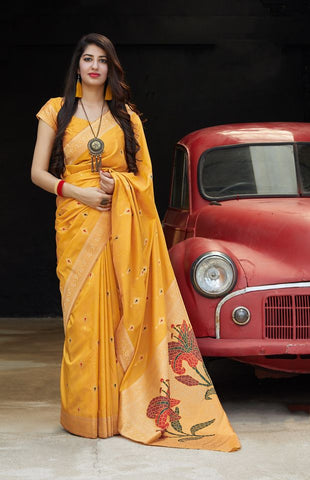 Yellow Jacquard Woven Banarasi Silk Saree - Daleyza Collections