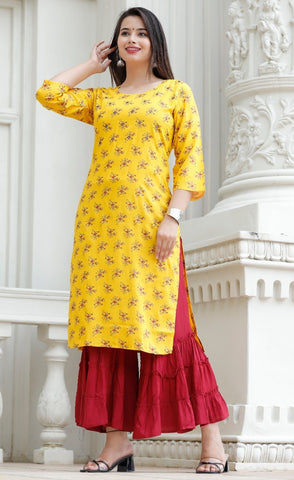 Yellow Kurti and Maroon Sharara with Foil Mirror Work - Daleyza Collections