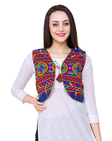 Blue Cotton Multi Color Embroidered Kurti Jacket - Daleyza Collections
