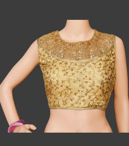 Designer Golden Readymade Blouse - Daleyza Collections