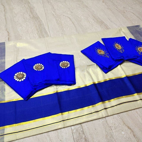 Kerala Traditional Gold Tissue Kerala Saree with Blue Border - Daleyza Collections