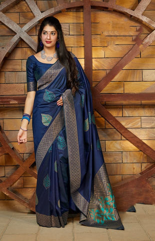 Blue Jacquard Woven Banarasi Silk Saree - Daleyza Collections