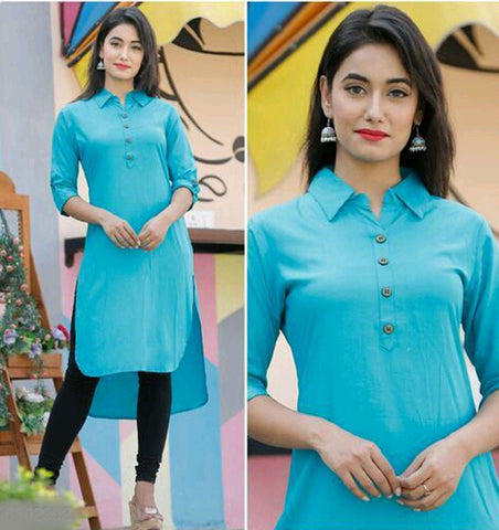 Blue Rayon Ready Made Kurti - Daleyza Collections