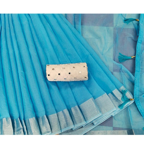 Blue Linen Chanderi Cotton Saree - Daleyza Collections