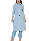 Blue Cotton Office Wear Kurti with Pant Set - Daleyza Collections
