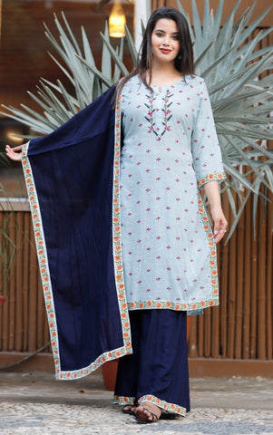Blue Cotton Slub Embroidered Kurti  Palazzo and Dupatta Set - Daleyza Collections