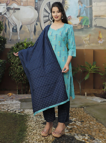 Blue Rayon Straight Kurti with Navy Blue Pant and Dupatta Set - Daleyza Collections