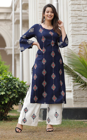 Navy Blue Embroidered Kurti with White Printed Pant - Daleyza Collections