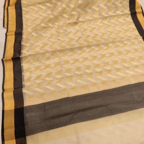 Kerala Style Brown Organza Tissue Saree - Daleyza Collections