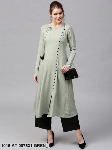 Olive Green Rayon Front Slit Ready Made Kurti - Daleyza Collections