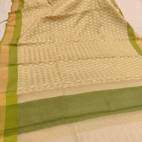 Kerala Style Green Organza Tissue Saree - Daleyza Collections