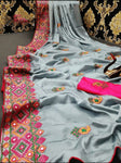Grey Kashmiri Work Designer Saree - Daleyza Collections