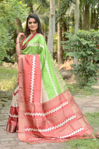 Red and Green Handwoven Hand dyed Zari Border Tussar Saree - Daleyza Collections