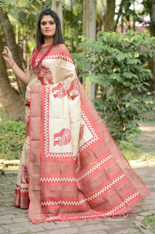 Red and White Handwoven Hand dyed Zari Border Tussar Saree - Daleyza Collections