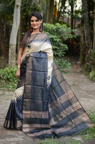 Black and White Handwoven Hand dyed Zari Border Tussar Saree - Daleyza Collections