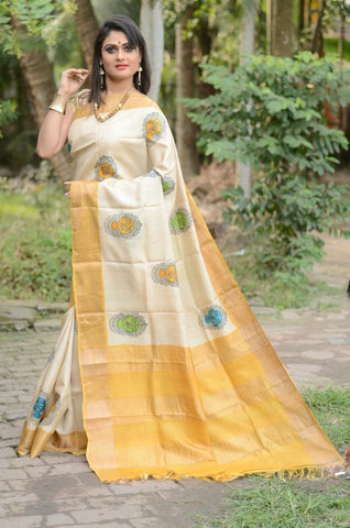 White and Yellow Handwoven Hand Dyed Zari Border Tussar Saree - Daleyza Collections