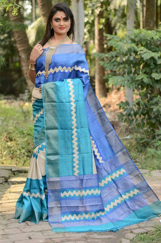 Blue and White Handwoven Hand dyed Zari Border Tussar Saree - Daleyza Collections