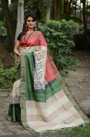 Red White and Green Handwoven Hand dyed Zari Border Tussar Saree - Daleyza Collections