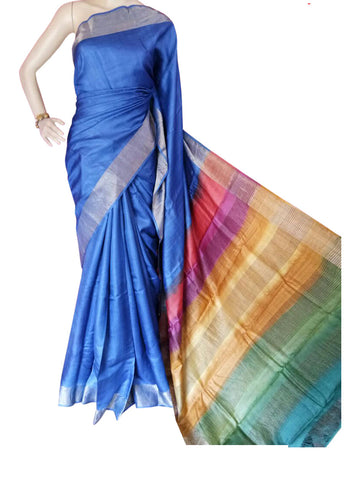 Multicolor Handwoven Hand dyed Zari Border Tussar Saree - Daleyza Collections