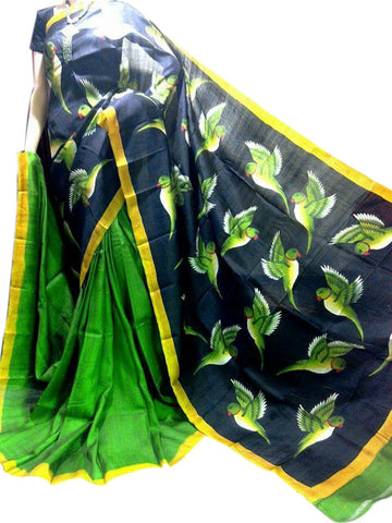 Green and Black Bishnupuri Silk Hand Painted Saree - Daleyza Collections