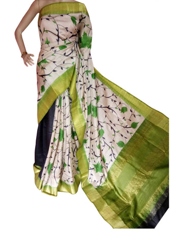 Black Green and White Hand Painted Zari Border Tussar Saree - Daleyza Collections