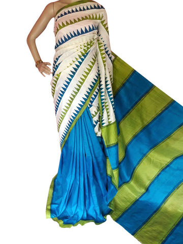 Blue and Green Bishnupuri Silk Block Print Saree - Daleyza Collections