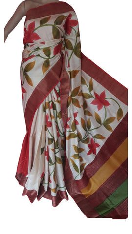 Multicolor Handwoven Hand Painted Zari Border Tussar Saree - Daleyza Collections