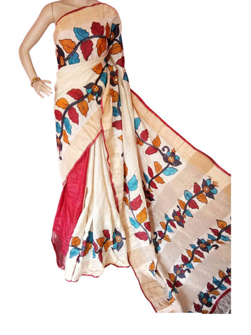 Multicolor Hand Painted Zari Border Tussar Saree - Daleyza Collections