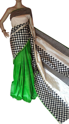 Green and White Bishnupuri Silk Block Print Saree - Daleyza Collections
