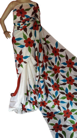 Bishnupuri Silk Hand Painted Saree - Daleyza Collections