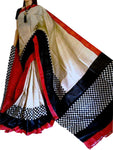 Red and Black Handwoven Hand Dyed Bishnupuri Silk Block Print Saree - Daleyza Collections