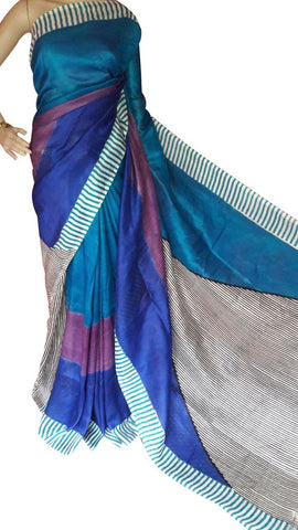 Multicolor Bishnupuri Silk Block Print Saree - Daleyza Collections