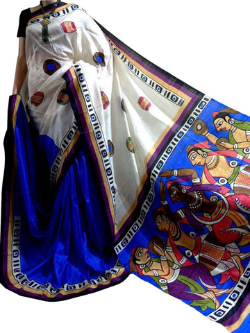 Multicolor Bishnupuri Silk Hand Painted Saree - Daleyza Collections