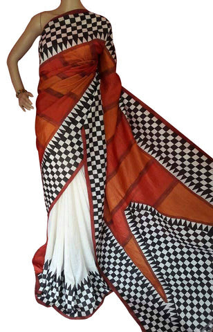 Rust and White Bishnupuri Silk Block Print Saree - Daleyza Collections